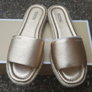 5a5493069900 Michael Kors Shoes - Michael Kors Dempsey Slide Gold Metallic 7.5 Box